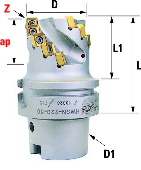 Technische Vorderansicht: Walzenstirnfräser mit SN..0904.. mit HSK-A63 (HWSN-920-50)