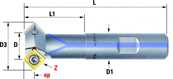 Technische Vorderansicht: Fasenfräser mit SD..09T3.. (FF-330-16-45)