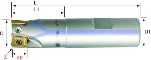 Technische Vorderansicht: Schaftfräser mit AP..1003.. (SAP-100-20-1)