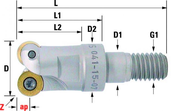 Technische Vorderansicht: Einschraubfräser mit RD..0702.. (041-15-07)