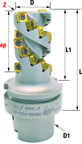Technische Vorderansicht: Walzenstirnfräser mit SN..0904.. mit HSK-A63 (HWSN-902-40)