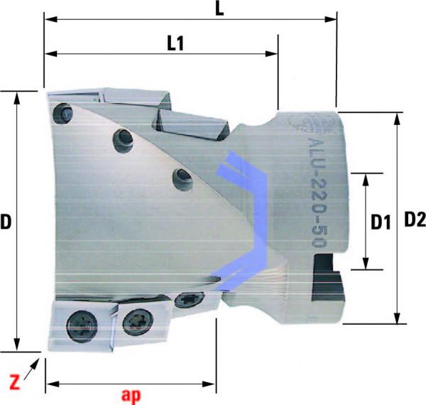 Technische Vorderansicht: Walzenstirnfräser mit AD..12T3.. speziell für ALU-Bearbeitung (ALU-220-50)