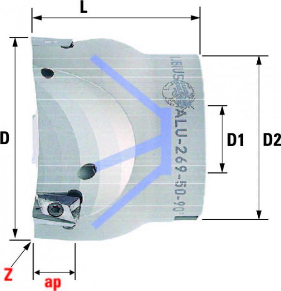 Technische Vorderansicht: Plan- und Eckfräser 90° mit AP..1003.. speziell für ALU-Bearbeitung (ALU-269-50-90)