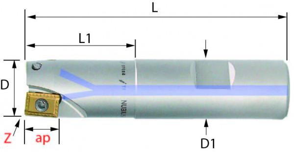 Technische Vorderansicht: Schaftfräser mit AD..1103.. (SAD-361-20)
