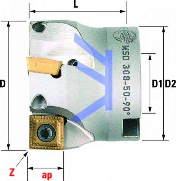 Technische Vorderansicht: Plan- und Eckfräser 90° mit SD..1205.. (MSD-308-50-90)