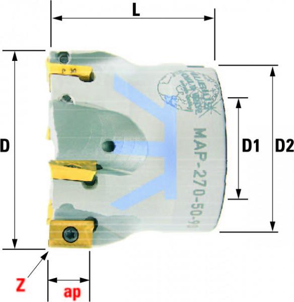 Technische Vorderansicht: Plan- und Eckfräser 90° mit AP..1003.. (MAP-270-50-90)