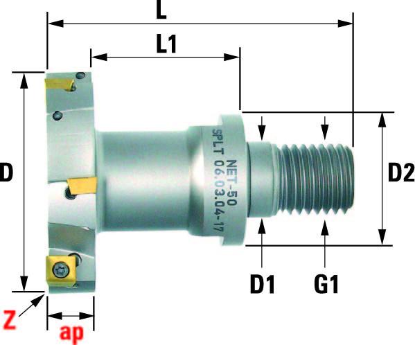 Technische Vorderansicht: T-Einschraubfräser mit SP..0603.. (NET-50)