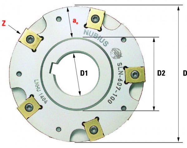 Technische Vorderansicht: Scheibenfräser mit LN..1404.. SLN-602-Typ (SLN-602-100)