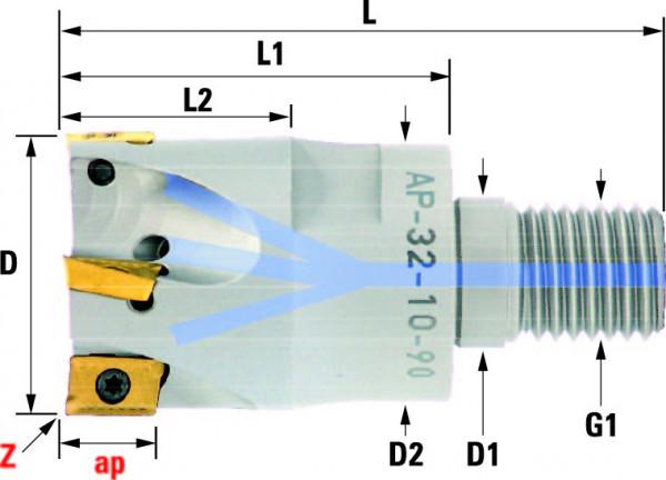 Technische Vorderansicht: Einschraubfräser mit AP..1003.. (AP-32-10-90)