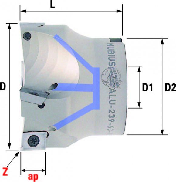 Technische Vorderansicht: Plan- und Eckfräser 90° mit AD..12T3.. speziell für ALU-Bearbeitung (ALU-239-63-90)