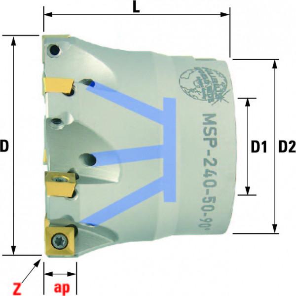 Technische Vorderansicht: Plan- und Eckfräser 90° mit SP..0603.. (MSP-240-50-90)