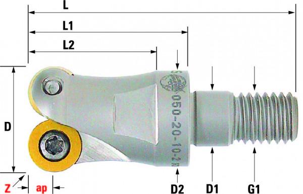 Technische Vorderansicht: Einschraubfräser mit RD..1003.. (050-20-10-2)
