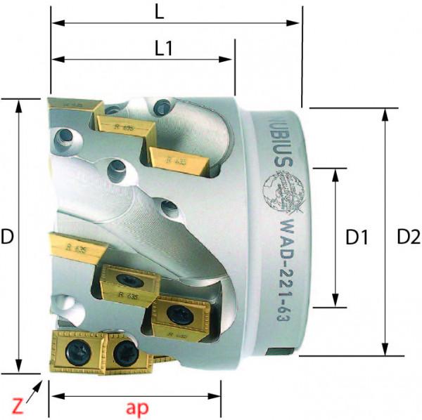 Technische Vorderansicht: Walzenstirnfräser mit AD..12T3.. (WAD-221-63)
