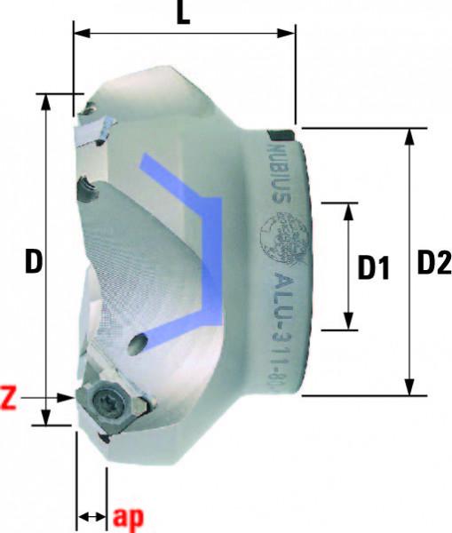 Technische Vorderansicht: Plan- und Eckfräser 45° mit SE..1204.. speziell für ALU-Bearbeitung (ALU-311-80-45)