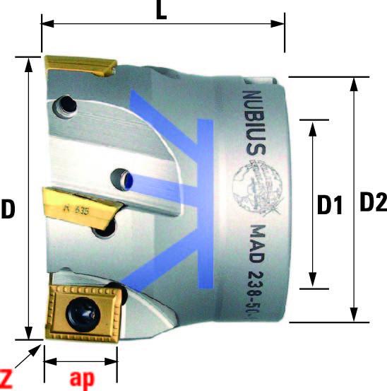 Technische Vorderansicht: Plan- und Eckfräser 90° mit AD..12T3.. (MAD-281-50-90)