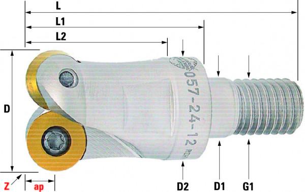 Technische Vorderansicht: Einschraubfräser mit RD..12T3.. und RD..1204.. (057-24-12)