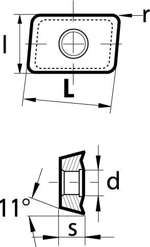 Technische Vorderansicht: Wendeschneidplatte APHT 1604.. (VPE-10Stk.) (APHT160408FR-MN)