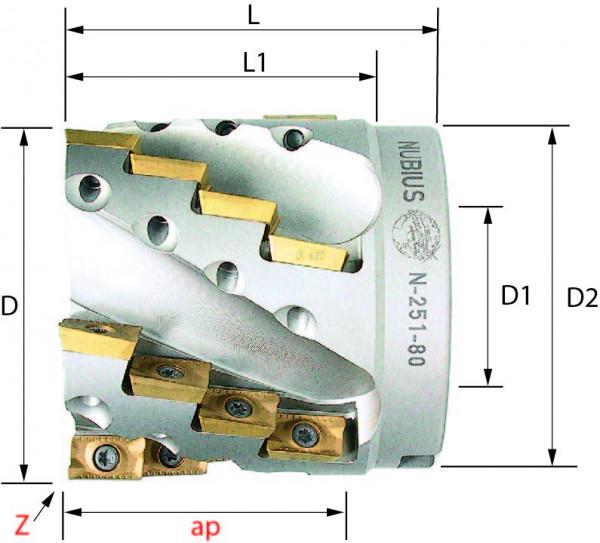 Technische Vorderansicht: Walzenstirnfräser mit AP..1604.. (N-251-80)