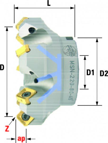 Technische Vorderansicht: Plan- und Eckfräser 45° mit SN..1205.. MSN-220-Typ (MSN-220-80-45)