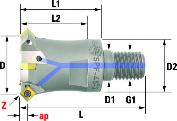 Technische Vorderansicht: Einschraub- und Fasenfräser 45° mit SP..0603.. (SPF-45-32-06)