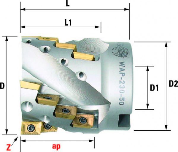 Technische Vorderansicht: Walzenstirnfräser mit AP..1003.. (WAP-230-50)