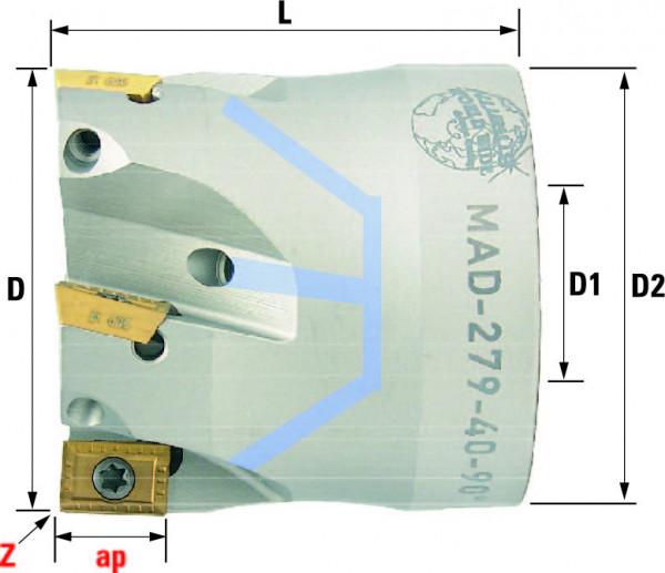Technische Vorderansicht: Plan- und Eckfräser 90° mit AD..0903.. (MAD-279-40-90)