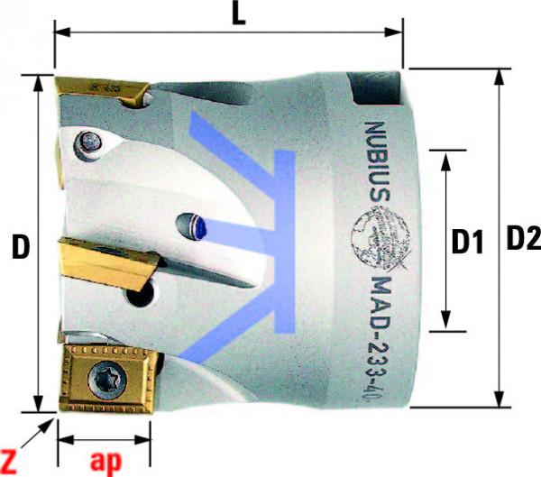 Technische Vorderansicht: Plan- und Eckfräser 90° mit AD..1103.. (MAD-280-40-90)