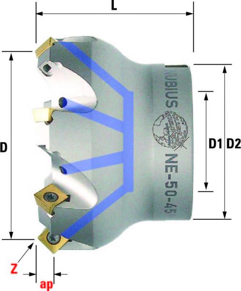 Technische Vorderansicht: Plan- und Eckfräser 45° mit SP..0603.. (MSP-245-50-45)