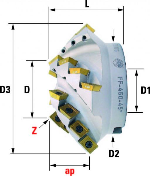 Technische Vorderansicht: Fasenfräser mit AD..12T3.. FF-450-Typ (FF-450-45)