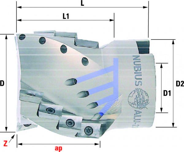 Technische Vorderansicht: Walzenstirnfräser mit AP..1003.. speziell für ALU-Bearbeitung (ALU-230-50)