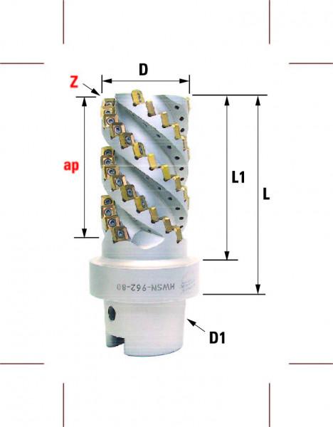 Technische Vorderansicht: Walzenstirnfräser mit SN..1205.. mit HSK-A100 (HWSN-962-80)