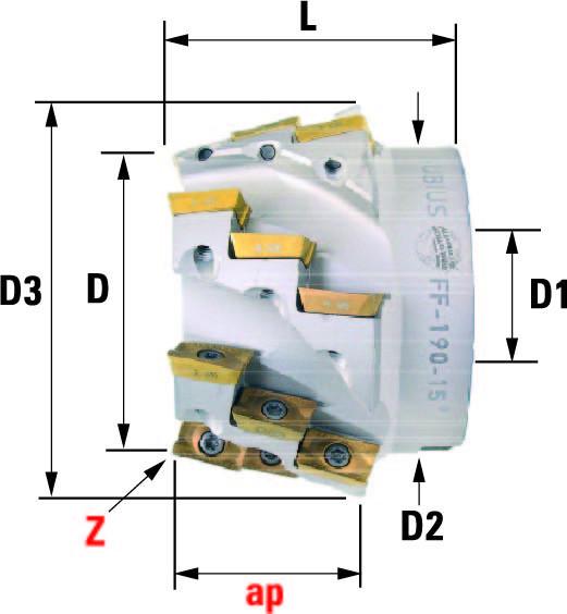 Technische Vorderansicht: Fasenfräser mit AP..1604.. (FF-190-10)