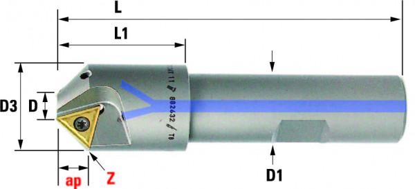 Technische Vorderansicht: Fasenfräser mit TC..1102.. (FF-340-6,2-45)