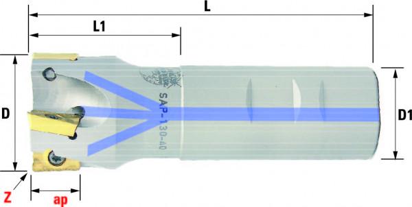 Technische Vorderansicht: Schaftfräser mit AP..1604.. (SAP-130-40)