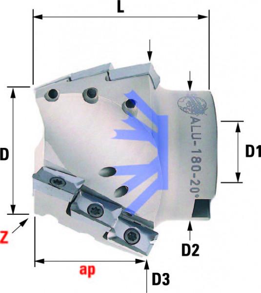 Technische Vorderansicht: Fasenfräser mit AP..1604.. (ALU-180-10)
