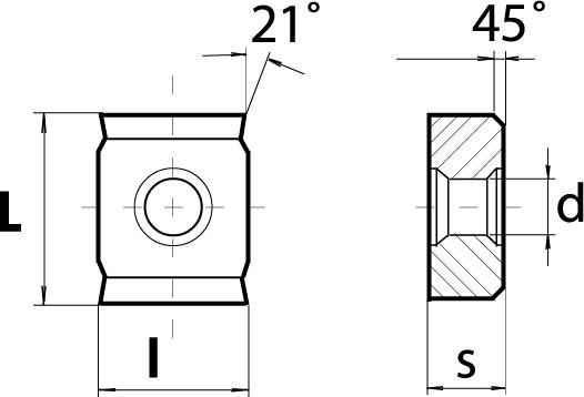 Technische Vorderansicht: Wendeschneidplatte LNHX 1404.. mit Hohlkehle (VPE-10Stk.) (LNHX1404-1185-57-P25)