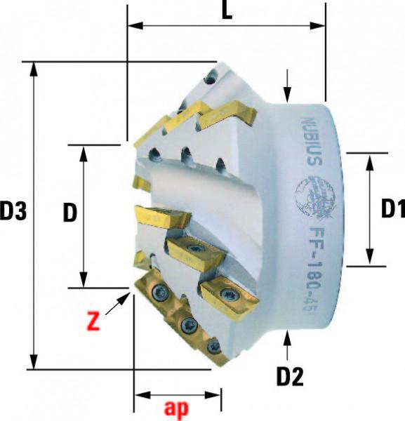Technische Vorderansicht: Fasenfräser mit AP..1604.. FF-180-Typ (FF-180-1)