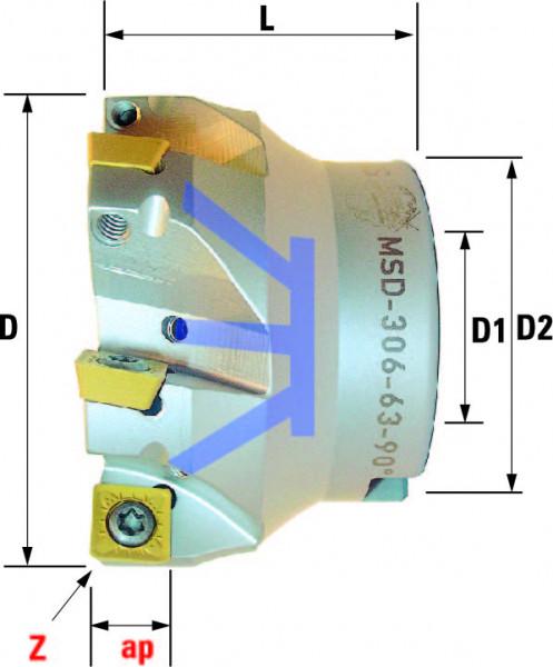 Technische Vorderansicht: Plan- und Eckfräser 90° mit SD..09T3.. (MSD-306-63-90)