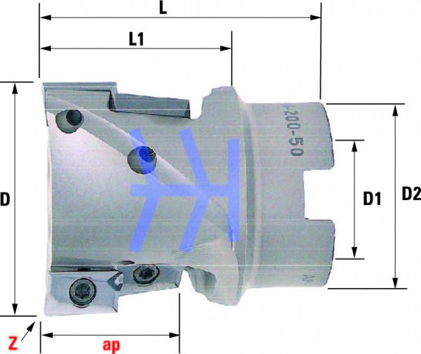 Technische Vorderansicht: Walzenstirnfräser mit AP..1604.. speziell für ALU-Bearbeitung (ALU-200-50)