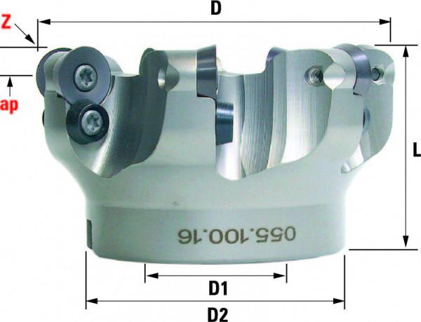 Technische Vorderansicht: Kopier- und Planfräser mit RD..1604.. (055-100-16)