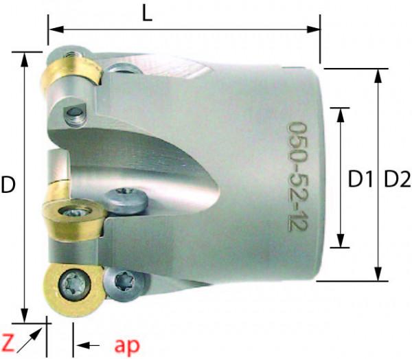 Technische Vorderansicht: Kopier- und Planfräser mit RD..12T3.. und RD..1204.. (050-52-12)