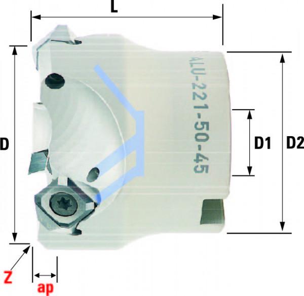 Technische Vorderansicht: Plan- und Eckfräser 45° mit SN..1205.. ALU-221-Typ speziell für ALU-Bearbeitung (ALU-221-50-45)