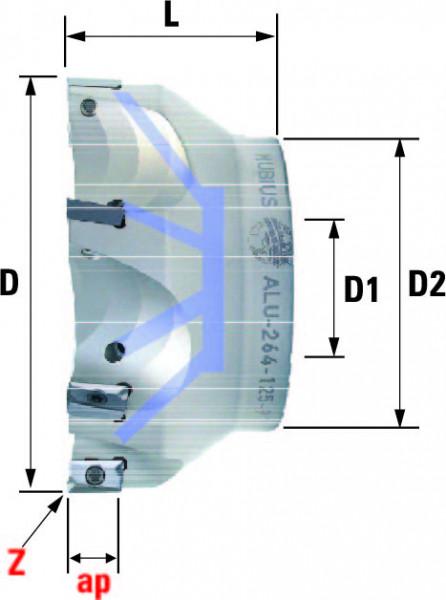 Technische Vorderansicht: Plan- und Eckfräser 90° mit AP..1604.. (ALU-260-125-90)